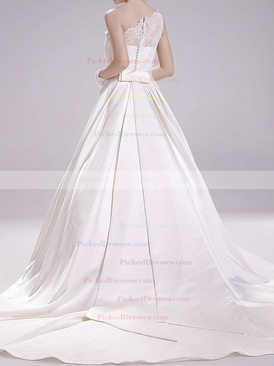 White One Shoulder Satin Lace Sashes/Ribbons Coolest Ball Gown Wedding Dress #PDS00020493