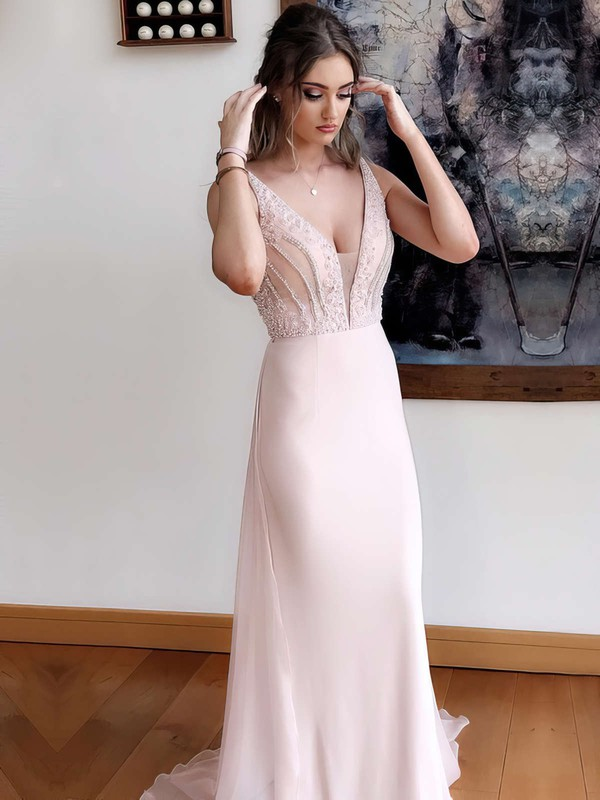 A-line V-neck Sweep Train Chiffon Sequins Prom Dresses #PDS020105018