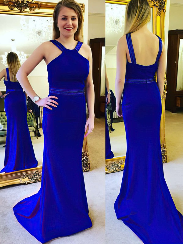 Sheath/Column V-neck Sweep Train Beading Prom Dresses #PDS020105030