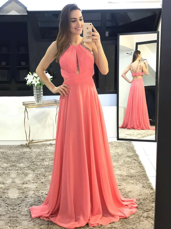 A-line Scoop Neck Sweep Train Chiffon Beading Prom Dresses #PDS020105147