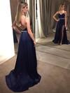 A-line V-neck Sweep Train Satin Beading Prom Dresses #PDS020105149
