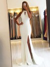 Trumpet/Mermaid Scoop Neck Sweep Train Satin Split Front Prom Dresses #PDS020105151