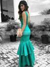 Trumpet/Mermaid V-neck Floor-length Satin Tiered Prom Dresses #PDS020105153