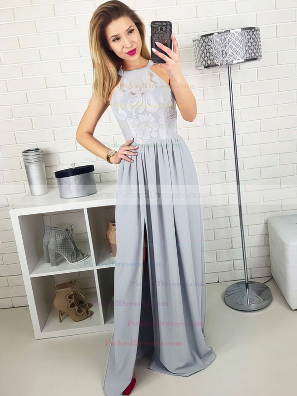 A-line Scoop Neck Floor-length Lace Satin Chiffon Split Front Prom Dresses #PDS020105172