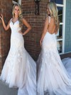 Trumpet/Mermaid V-neck Sweep Train Tulle Appliques Lace Prom Dresses #PDS020105177