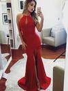 Trumpet/Mermaid Scoop Neck Sweep Train Split Front Prom Dresses #PDS020105178