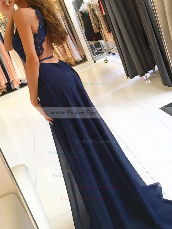 A-line Scoop Neck Sweep Train Chiffon Appliques Lace Prom Dresses #PDS020105184