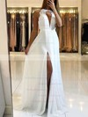 A-line Scoop Neck Sweep Train Chiffon Appliques Lace Prom Dresses #PDS020105184