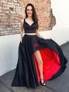 A-line V-neck Floor-length Satin Pockets Prom Dresses #PDS020105189