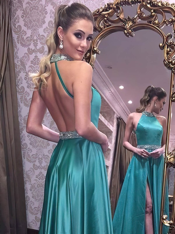 A-line High Neck Floor-length Satin Beading Prom Dresses #PDS020105197