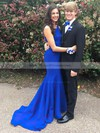 Trumpet/Mermaid Scoop Neck Sweep Train Beading Prom Dresses #PDS020105199