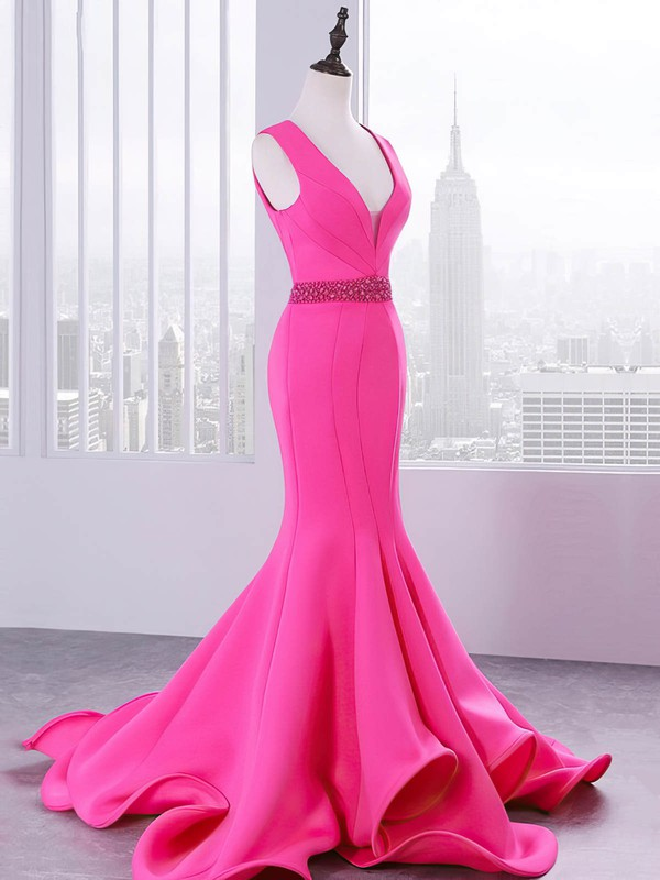 Trumpet/Mermaid V-neck Sweep Train Satin Beading Prom Dresses #PDS020105202