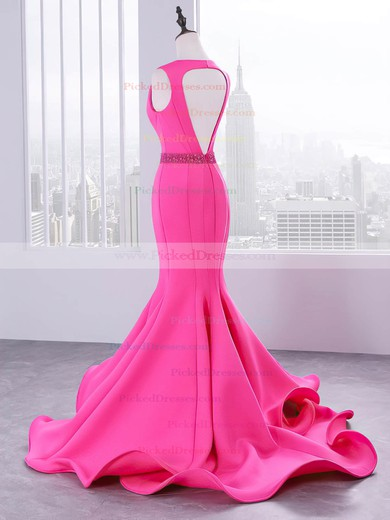 Trumpet/Mermaid V-neck Sweep Train Stretch Crepe Beading Prom Dresses #PDS020105202
