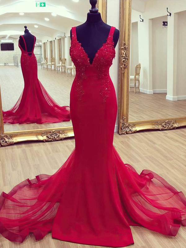 Trumpet/Mermaid V-neck Sweep Train Jersey Beading Prom Dresses #PDS020105204
