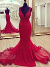 Trumpet/Mermaid V-neck Sweep Train Jersey Beading Prom Dresses #PDS020105204