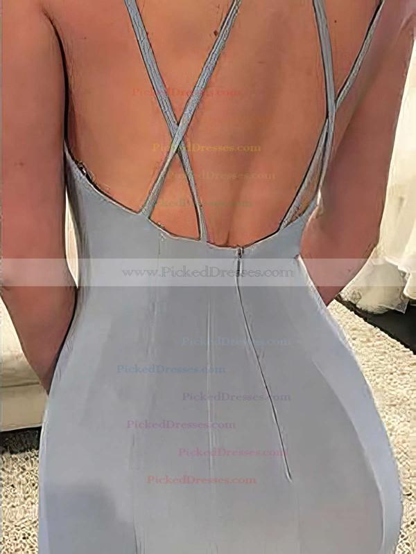 Trumpet/Mermaid V-neck Sweep Train Chiffon Split Front Prom Dresses #PDS020105205