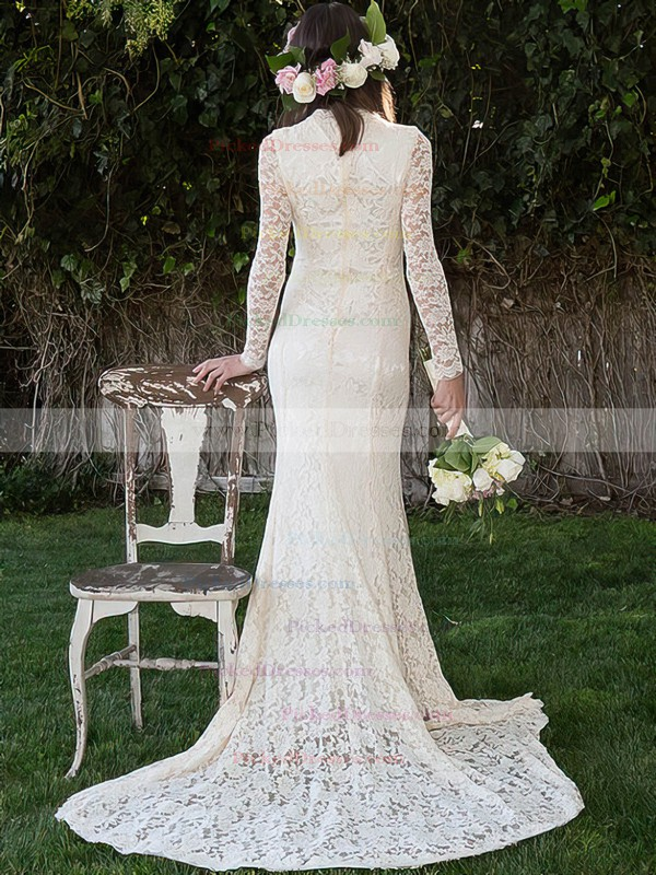 Affordable Long Sleeve Ivory Lace High Neck Sheath/Column Wedding Dress #PDS00020495