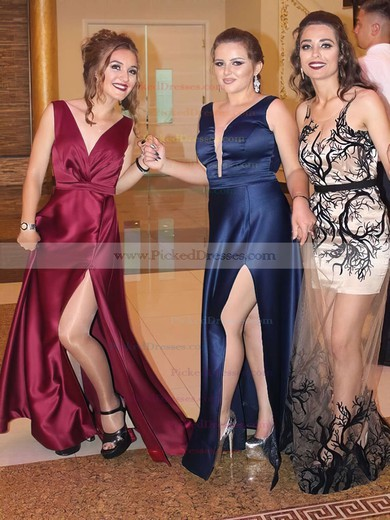 A-line V-neck Floor-length Split Front Prom Dresses #PDS020105208