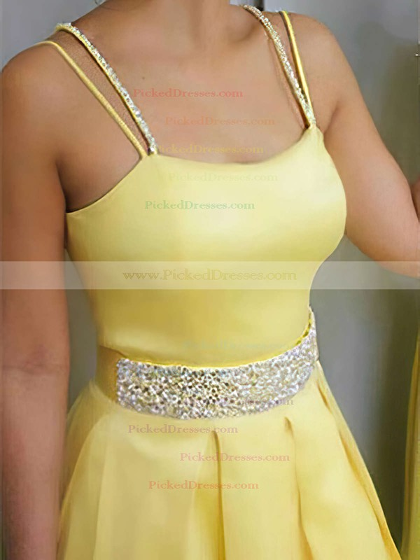 A-line Square Neckline Sweep Train Satin Beading Prom Dresses #PDS020105212