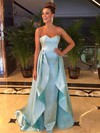 A-line Strapless Sweep Train Satin Ruffle Prom Dresses #PDS020105215