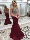 Trumpet/Mermaid Scoop Neck Floor-length Tulle Satin Beading Prom Dresses #PDS020105216