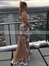 Sheath/Column V-neck Asymmetrical Tulle Appliques Lace Prom Dresses #PDS020105218