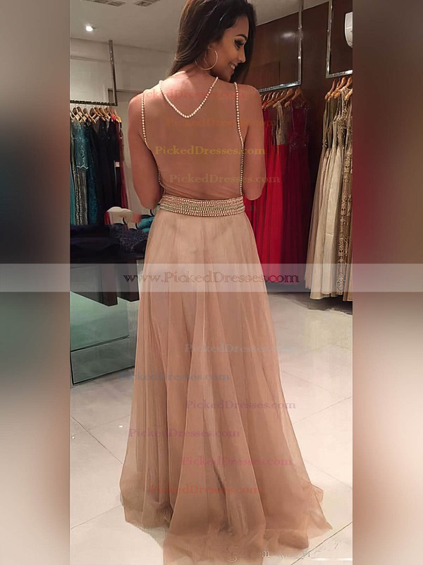 A-line Scoop Neck Floor-length Tulle Beading Prom Dresses #PDS020105220
