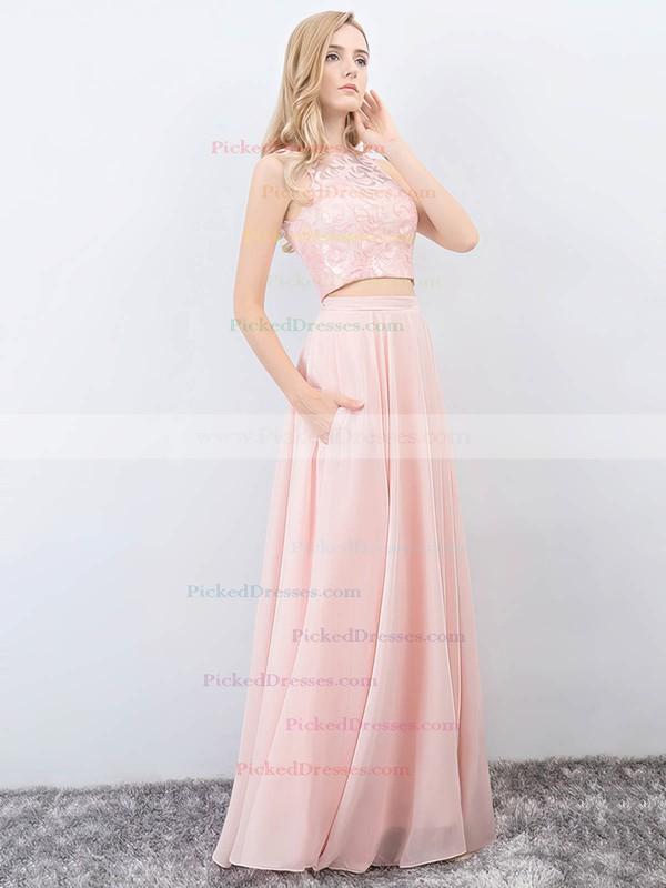 A-line Scoop Neck Floor-length Lace Chiffon Pockets Prom Dresses #PDS020105223
