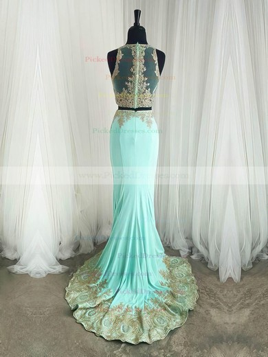 Trumpet/Mermaid Scoop Neck Sweep Train Tulle Appliques Lace Prom Dresses #PDS020105224