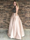Ball Gown High Neck Floor-length Satin Beading Prom Dresses #PDS020105225