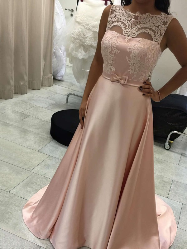 A-line Scoop Neck Sweep Train Satin Appliques Lace Prom Dresses #PDS020105227