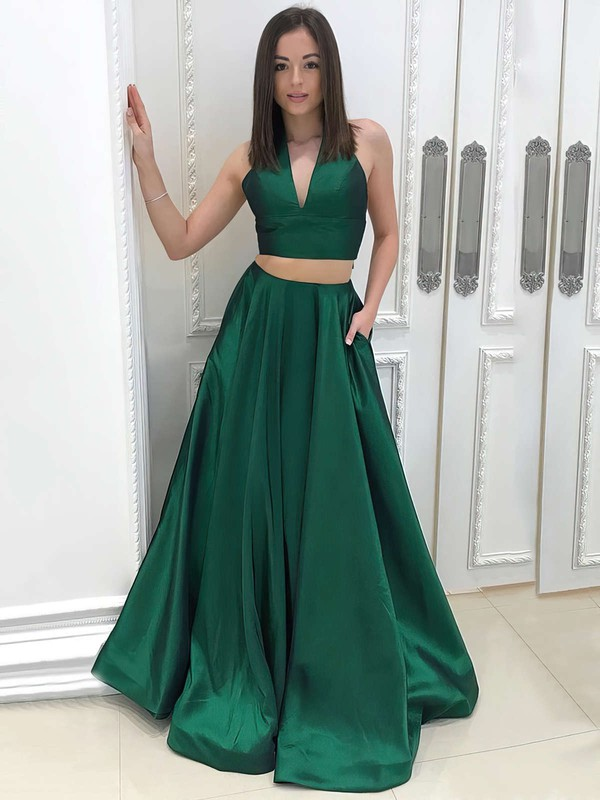 Princess V-neck Floor-length Satin Pockets Prom Dresses #PDS020105234