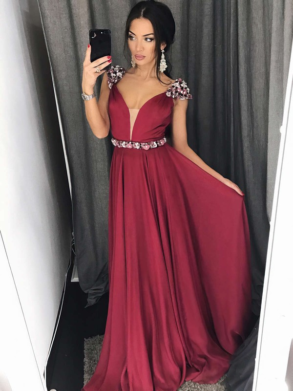 A-line V-neck Sweep Train Chiffon Prom Dresses #PDS020105239