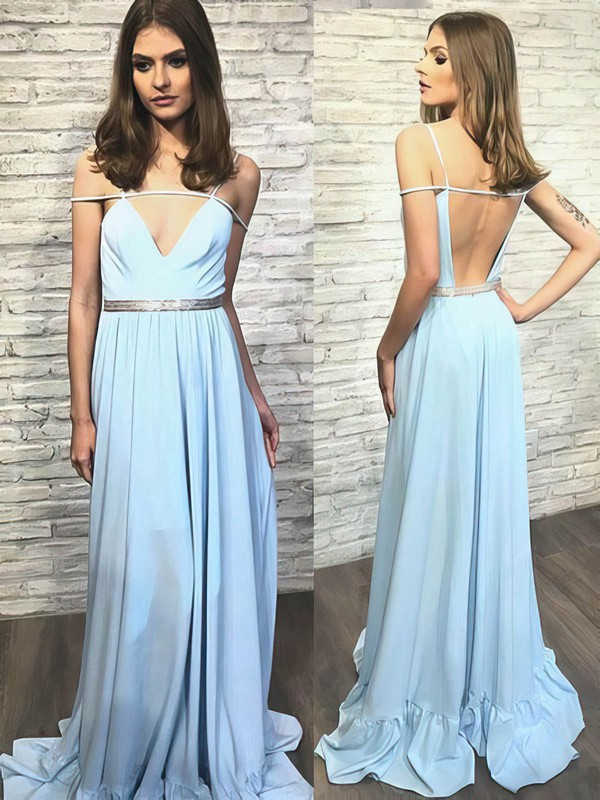 A-line V-neck Sweep Train Chiffon Prom Dresses #PDS020105240