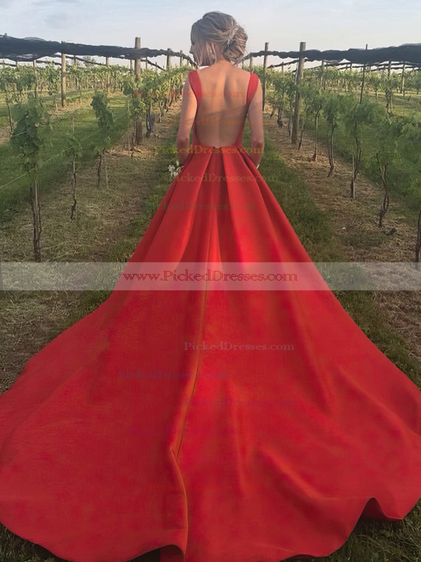 A-line Scoop Neck Court Train Satin Pockets Prom Dresses #PDS020105245