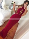 Trumpet/Mermaid High Neck Floor-length Split Front Prom Dresses #PDS020105246
