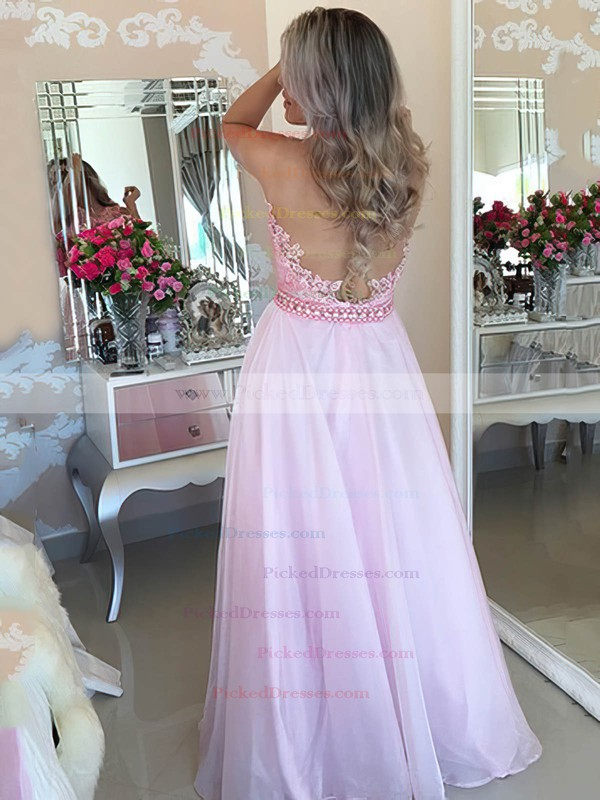 A-line Scoop Neck Floor-length Chiffon Tulle Pearl Detailing Prom Dresses #PDS020105247