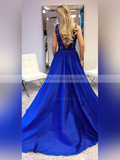 Princess V-neck Sweep Train Lace Satin Prom Dresses #PDS020105252