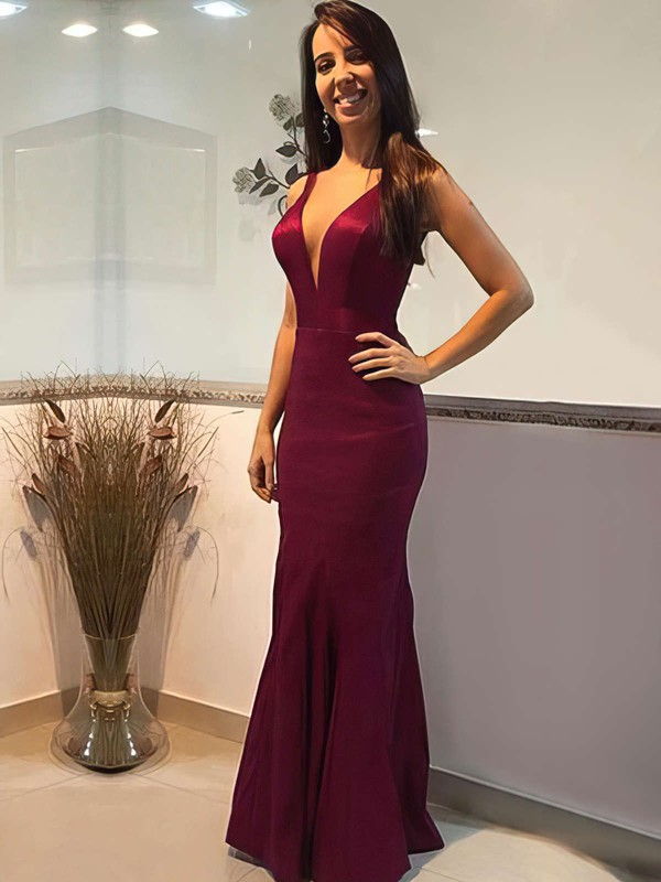 Trumpet/Mermaid V-neck Floor-length Prom Dresses #PDS020105253