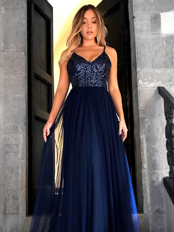A-line V-neck Floor-length Tulle Sequins Prom Dresses #PDS020105254