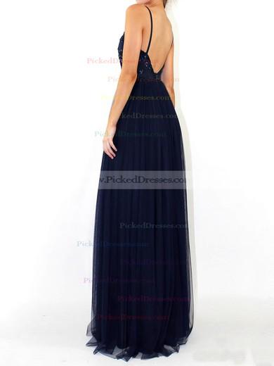 A-line V-neck Floor-length Tulle Sequins Prom Dresses #PDS020105254