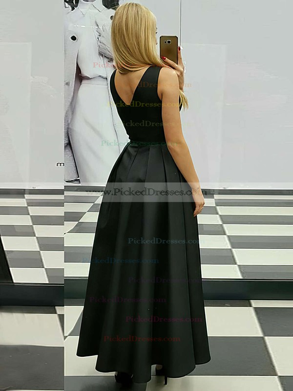 A-line V-neck Ankle-length Satin Ruffle Prom Dresses #PDS020105259