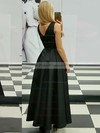 A-line V-neck Ankle-length Satin Ruffle Prom Dresses #PDS020105259