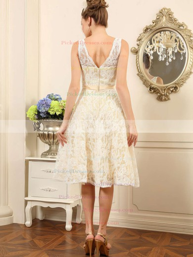 Ivory Lace V-neck Sashes/Ribbons Asymmetrical Cute Wedding Dresses #PDS00020498