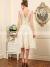 Ivory Lace V-neck Sashes/Ribbons Asymmetrical Cute Wedding Dresses #PDS00020498