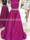 Princess High Neck Sweep Train Satin Beading Prom Dresses #PDS020105265
