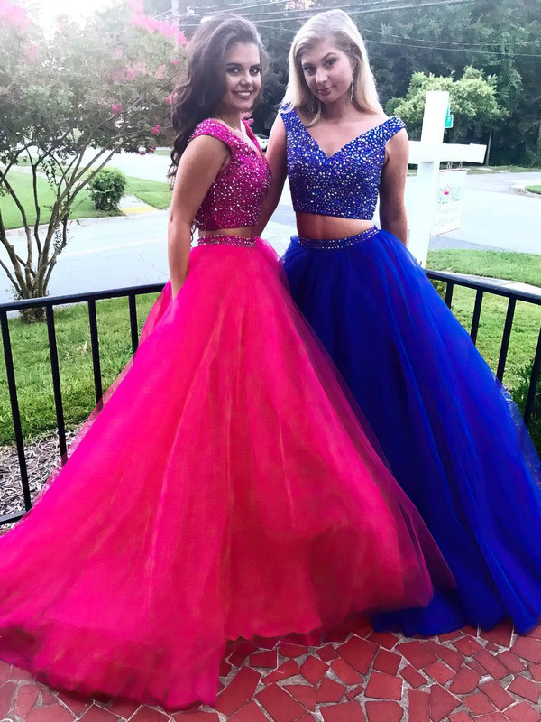 Ball Gown V-neck Sweep Train Tulle Beading Prom Dresses #PDS020105271