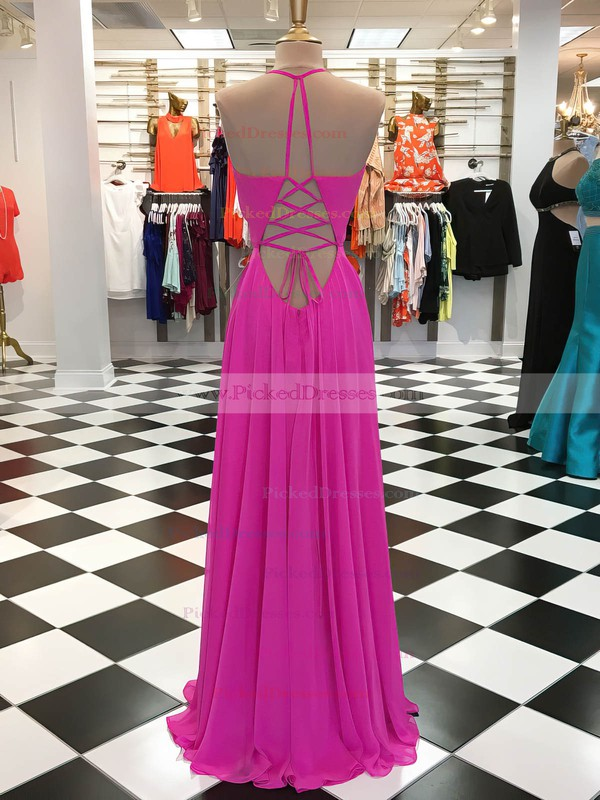 A-line V-neck Floor-length Chiffon Ruffles Prom Dresses #PDS020105273