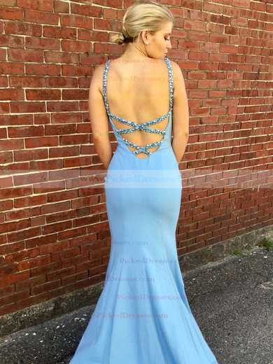 Trumpet/Mermaid Square Neckline Sweep Train Beading Prom Dresses #PDS020105282