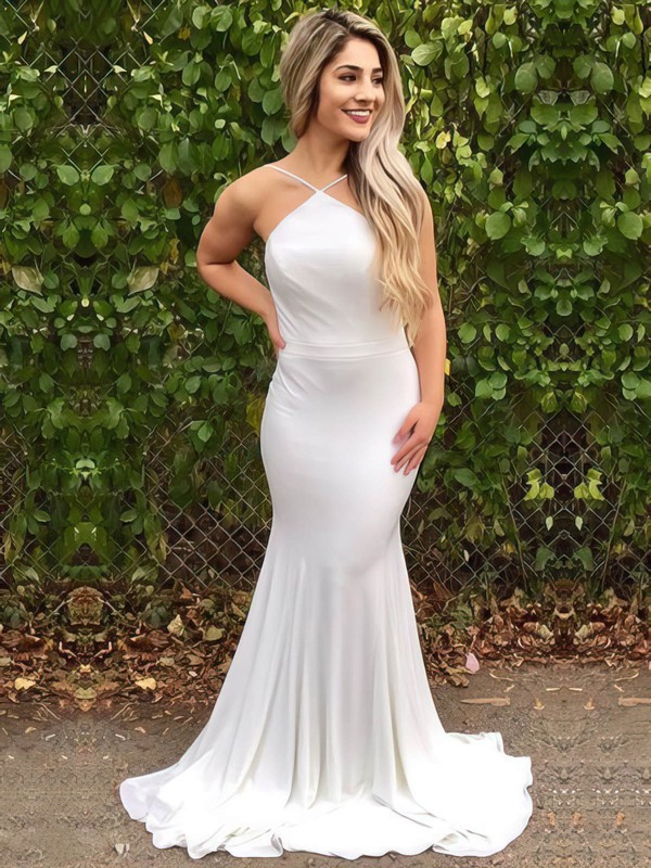 Trumpet/Mermaid V-neck Sweep Train Jersey Prom Dresses #PDS020105287